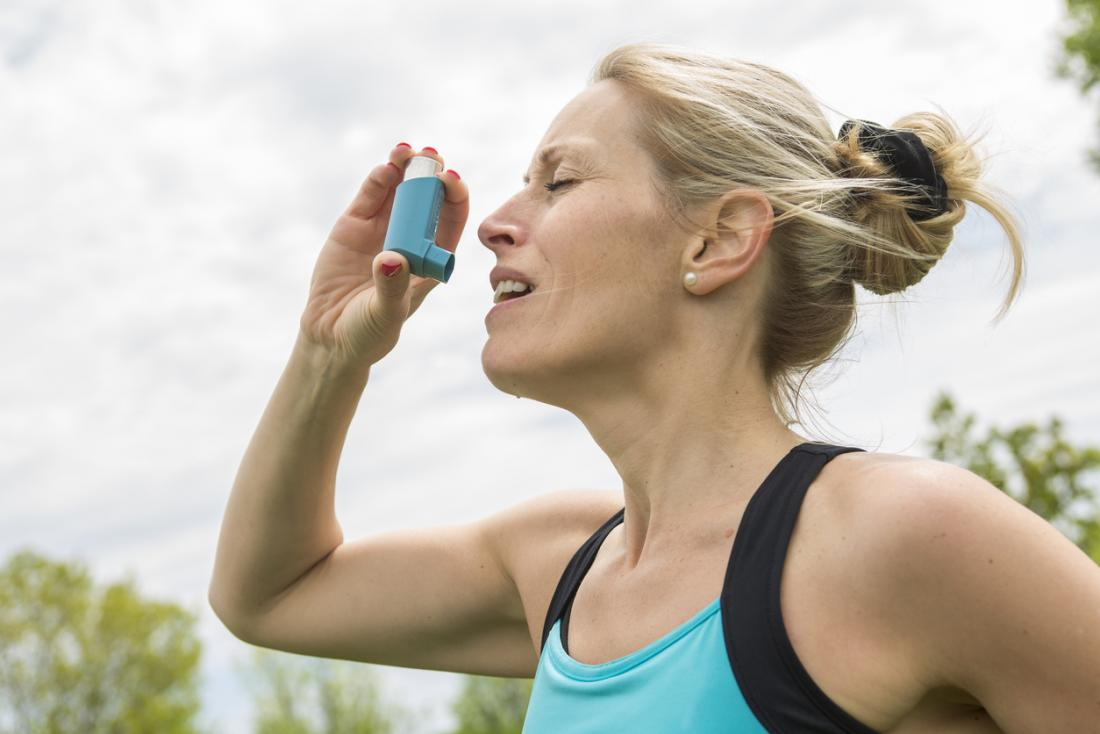 jogger with asthma pump