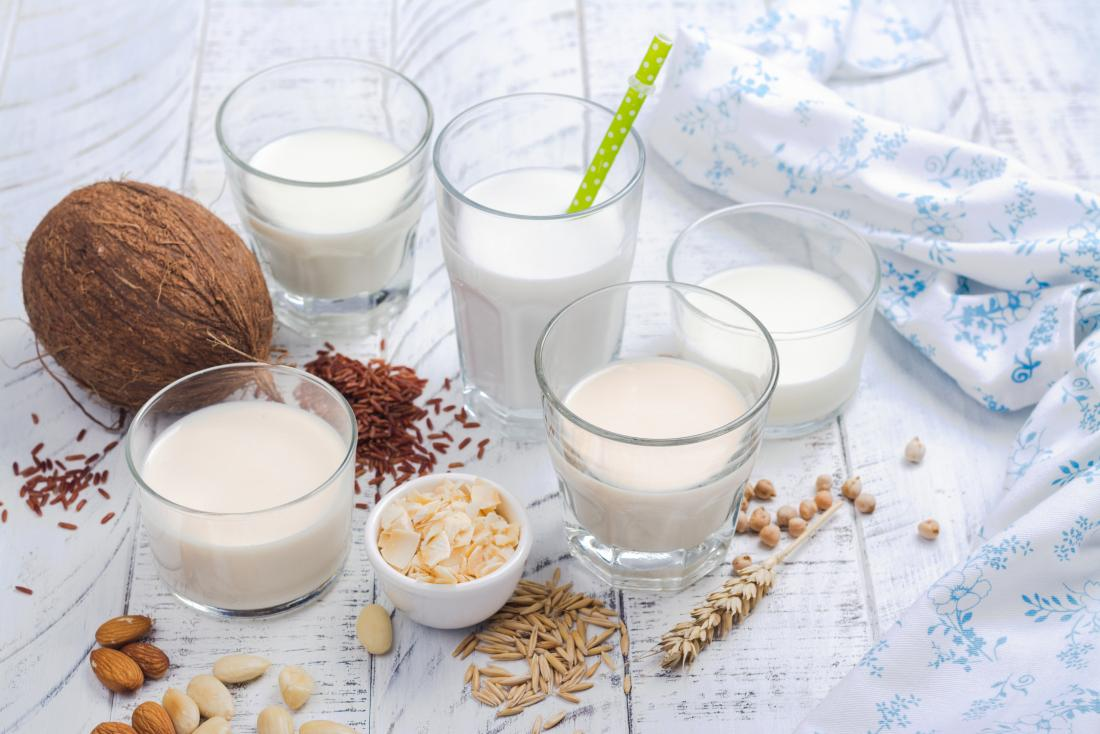 Various plant milks for vegan diet including coconut, rice, oat, almond, and cashew milk