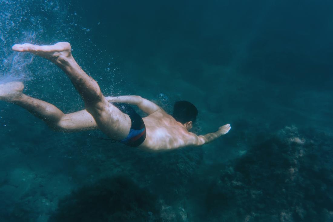 freediver under water