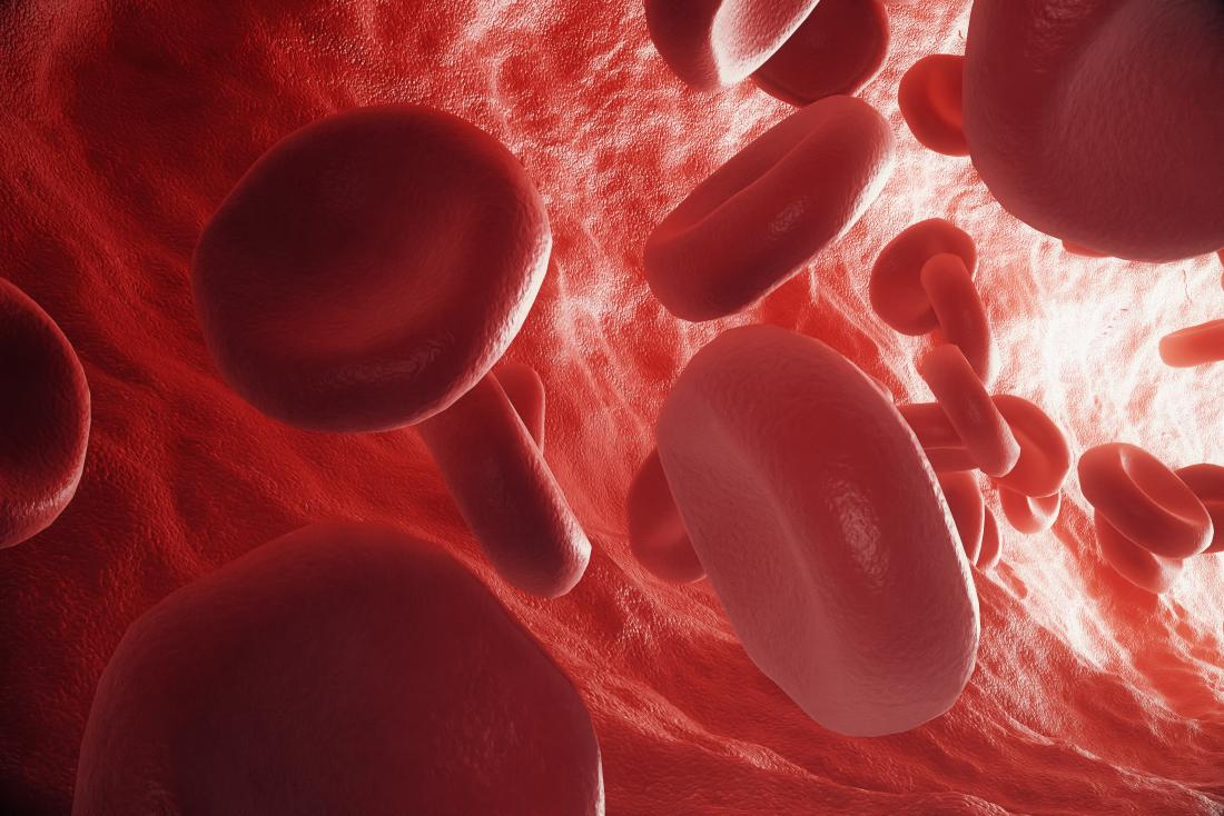 red blood cells flowing