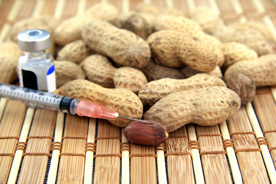peanuts with syringe