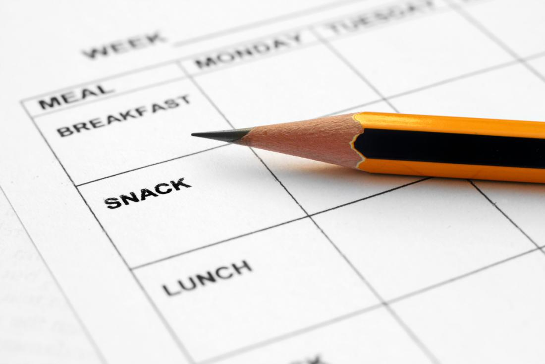 meal plan and pencil for a low-carb diet