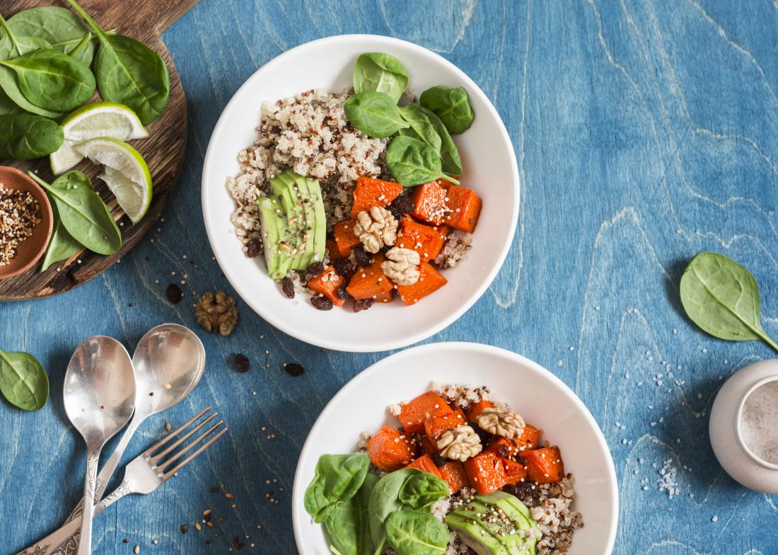healthy vegan meal with plant food