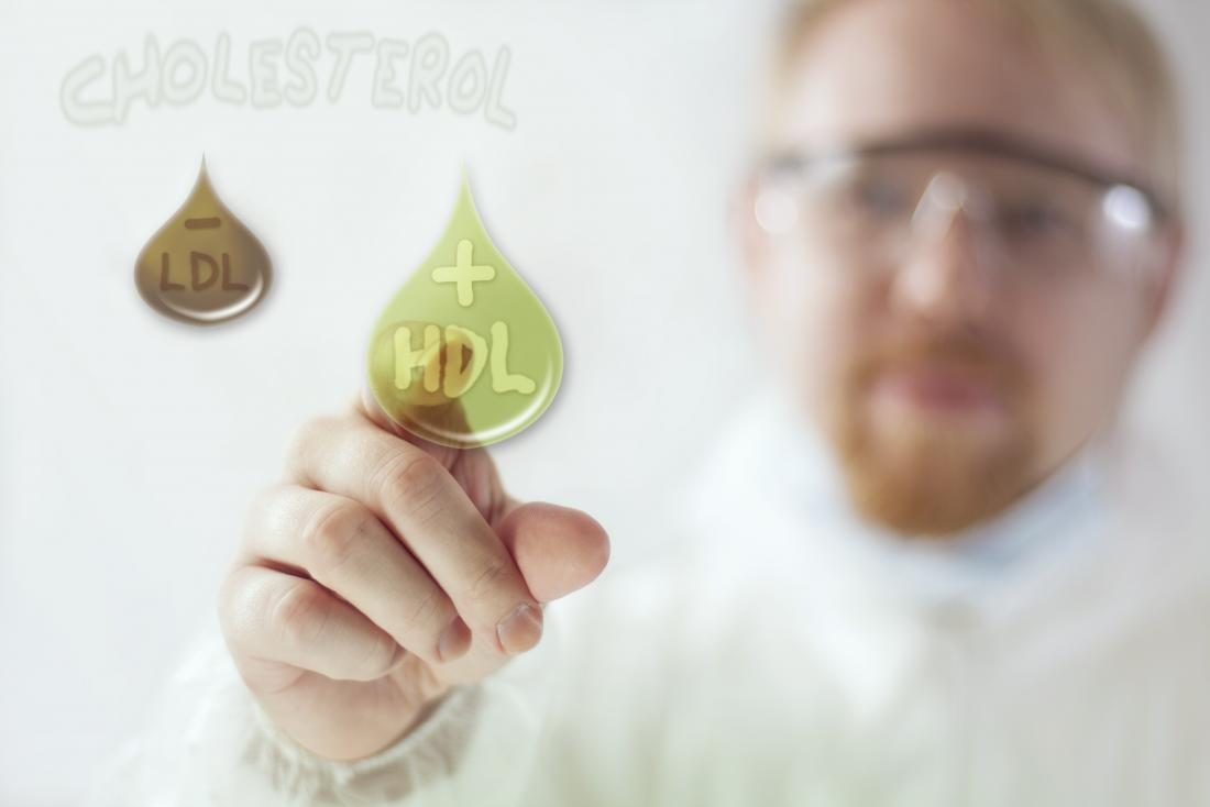 A doctor selecting HDL over LDL cholesterol