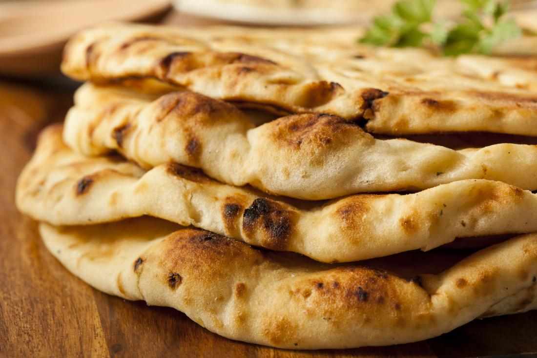 A stack of naan breads which can be a part of a low fiber diet