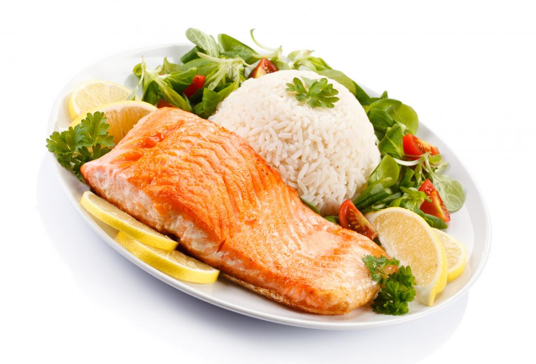 salmon, white rice, and vegetables is recommended for a low fiber diet