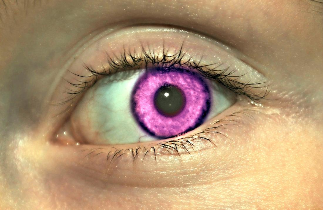 Alexandria's genesis shown through image of eye with a fake purple iris.