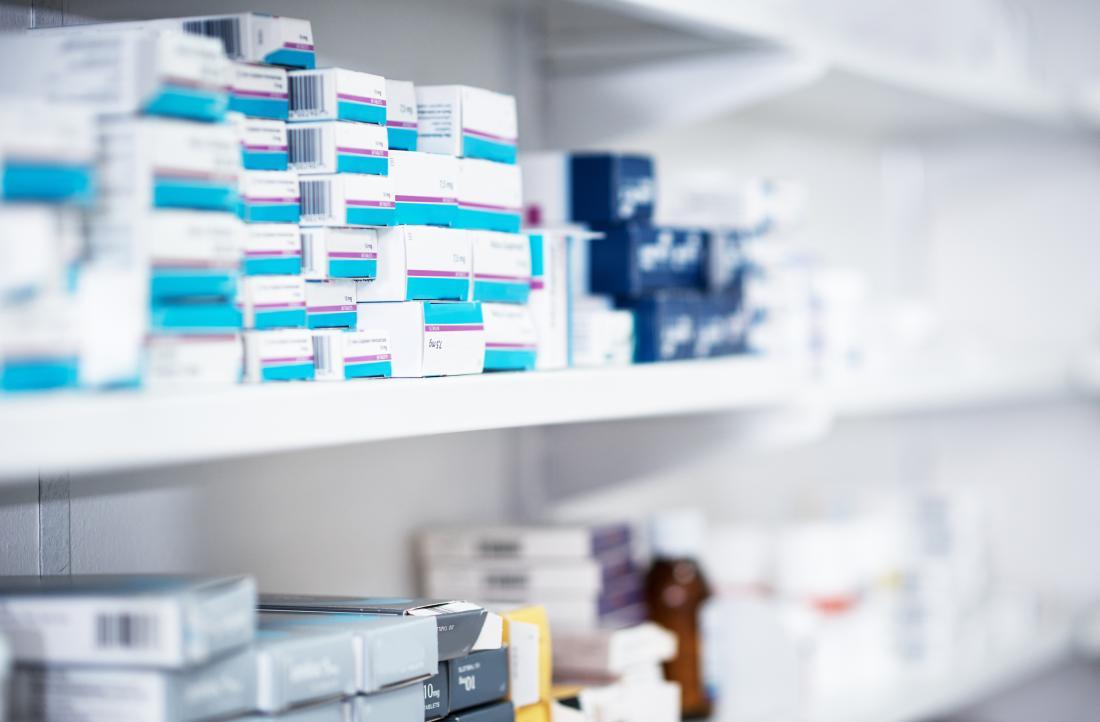 Medication on pharmacy shelf