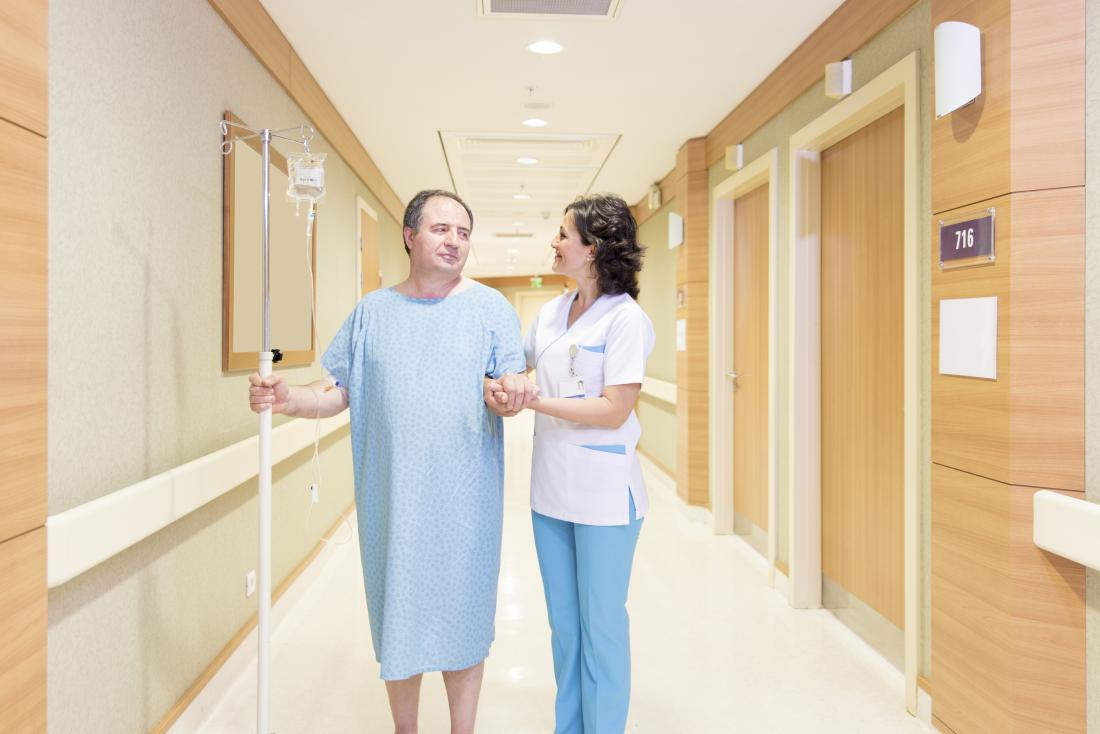 A short walk is recommended soon after diverticulitis surgery to stop blood clots