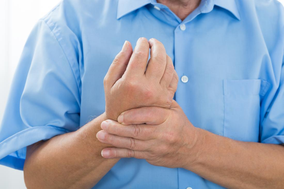 Ulnar tunnel syndrome in person holding wrist.