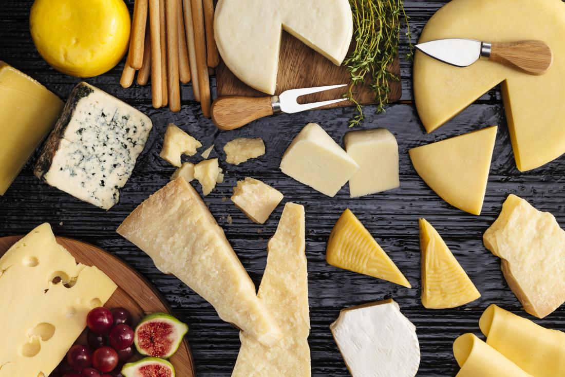 a variety of cheeses