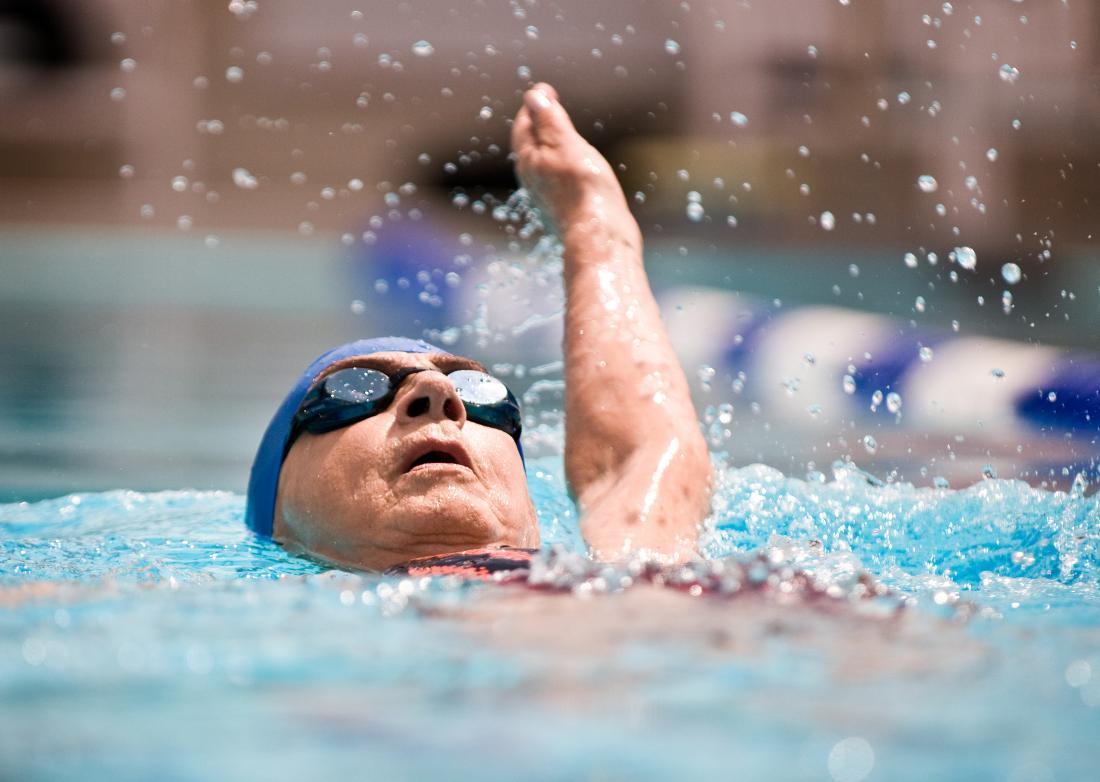Swimming senior person.