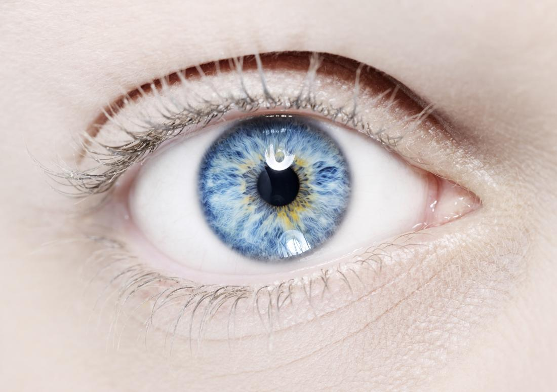 Bright blue eye with different colours.