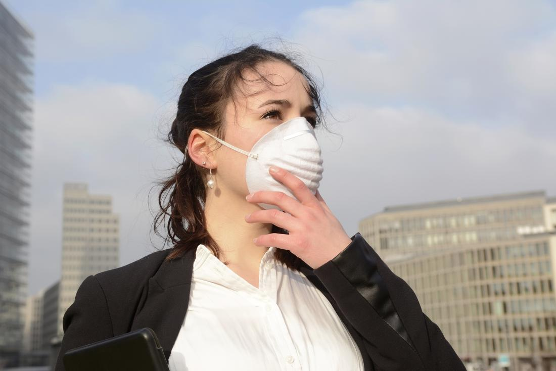 Woman wearing dust mask on face in city due to air pollution
