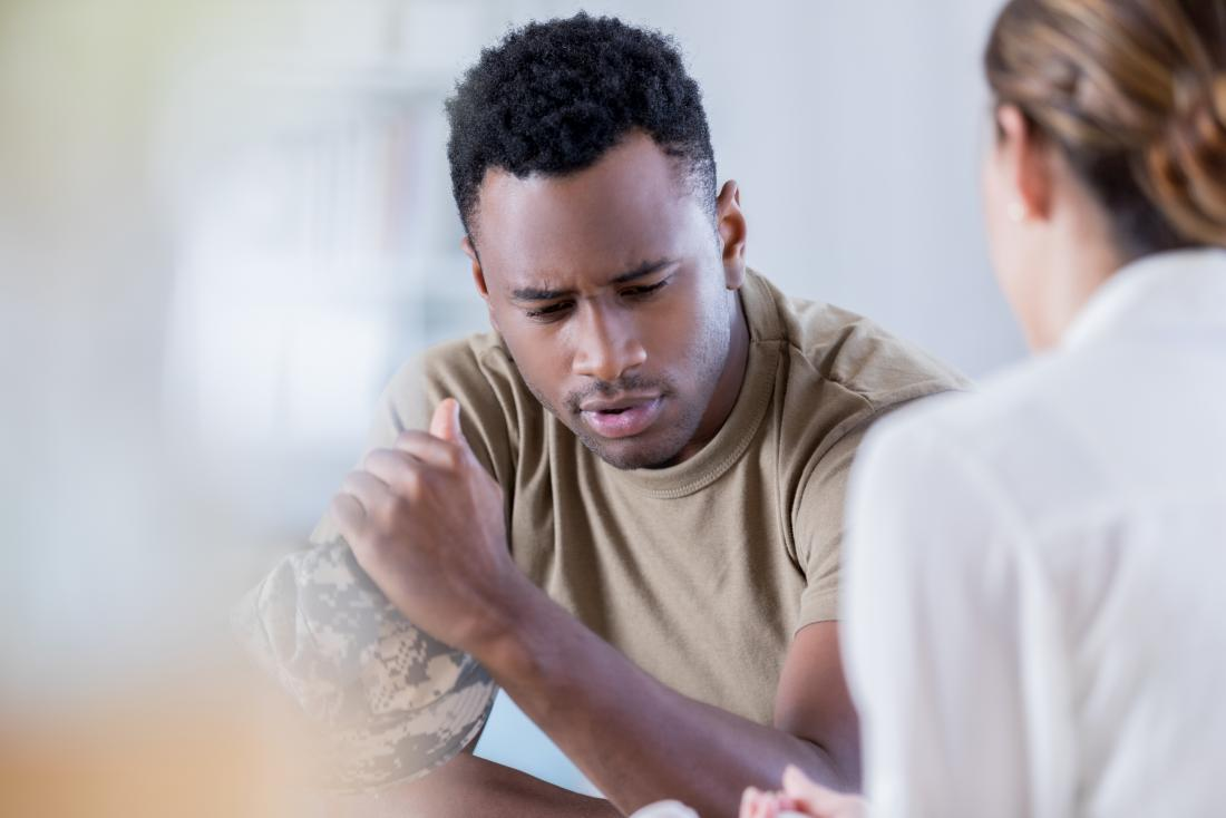man in counseling session with therapist