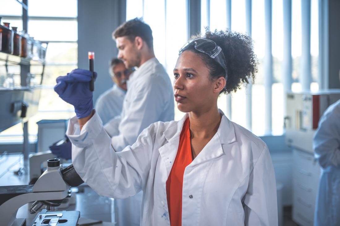scientist analyzing blood sample
