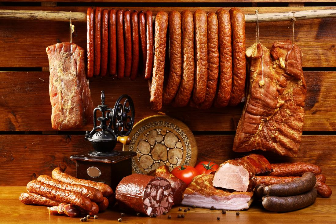 a selection of processed meats