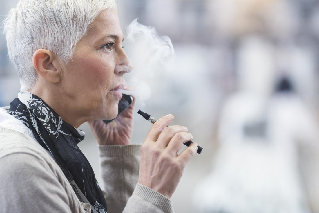 Woman vaping with e-cigarette