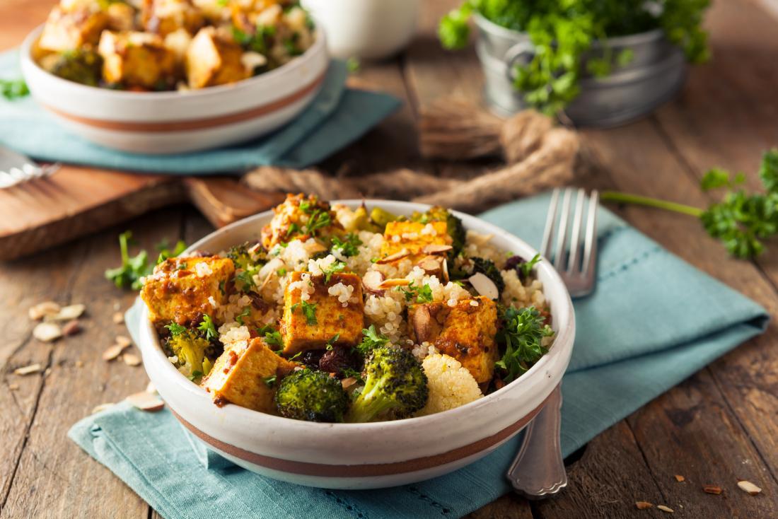 Healthy tofu quinoa bowl.
