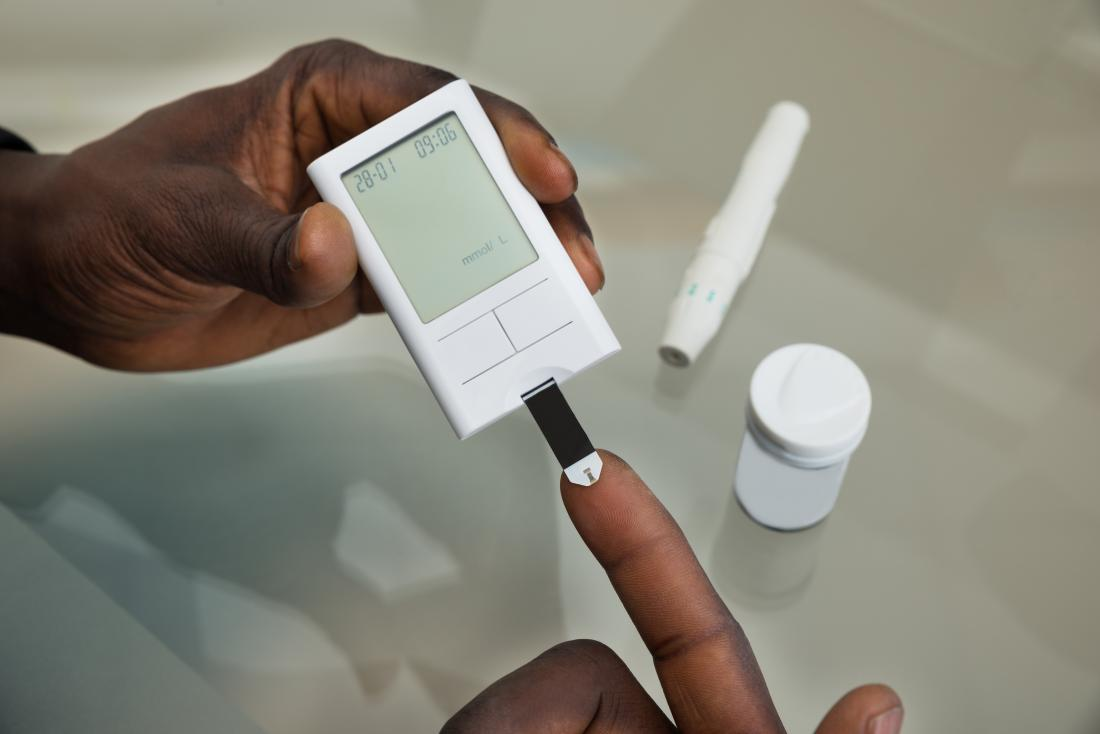 Person with diabetes measuring their blood sugar levels.