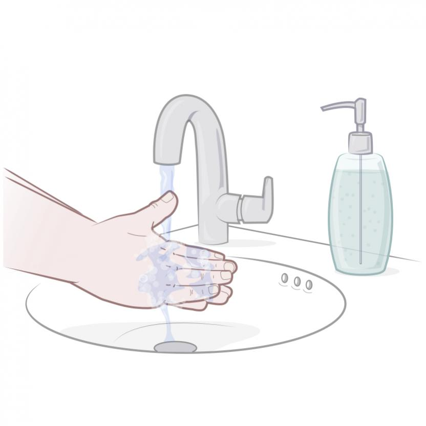 Washing hands - rectal suppository series