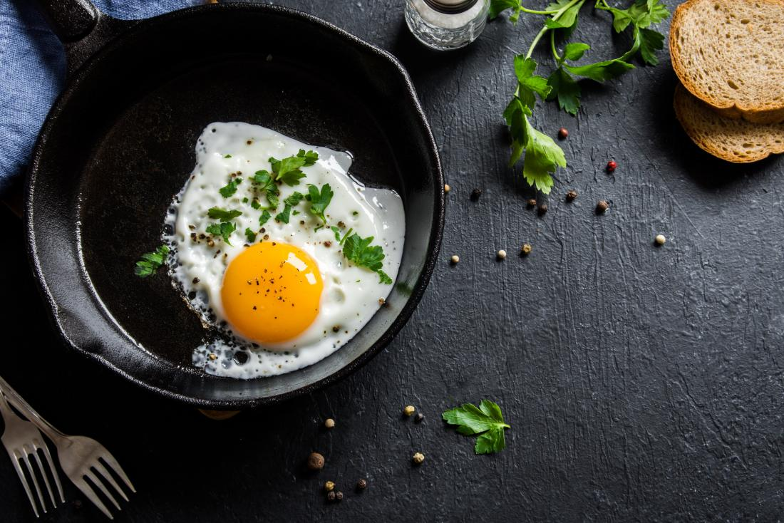 Egg frying in a pan