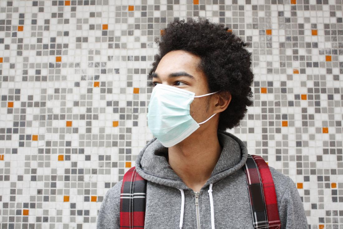 Man wearing air pollution mask