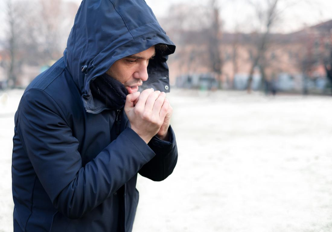 Man outside in cold weather