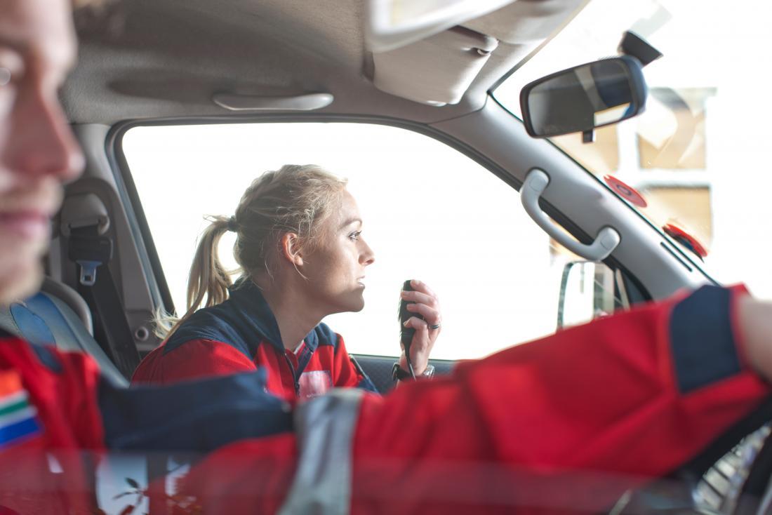 Paramedics in ambulance.