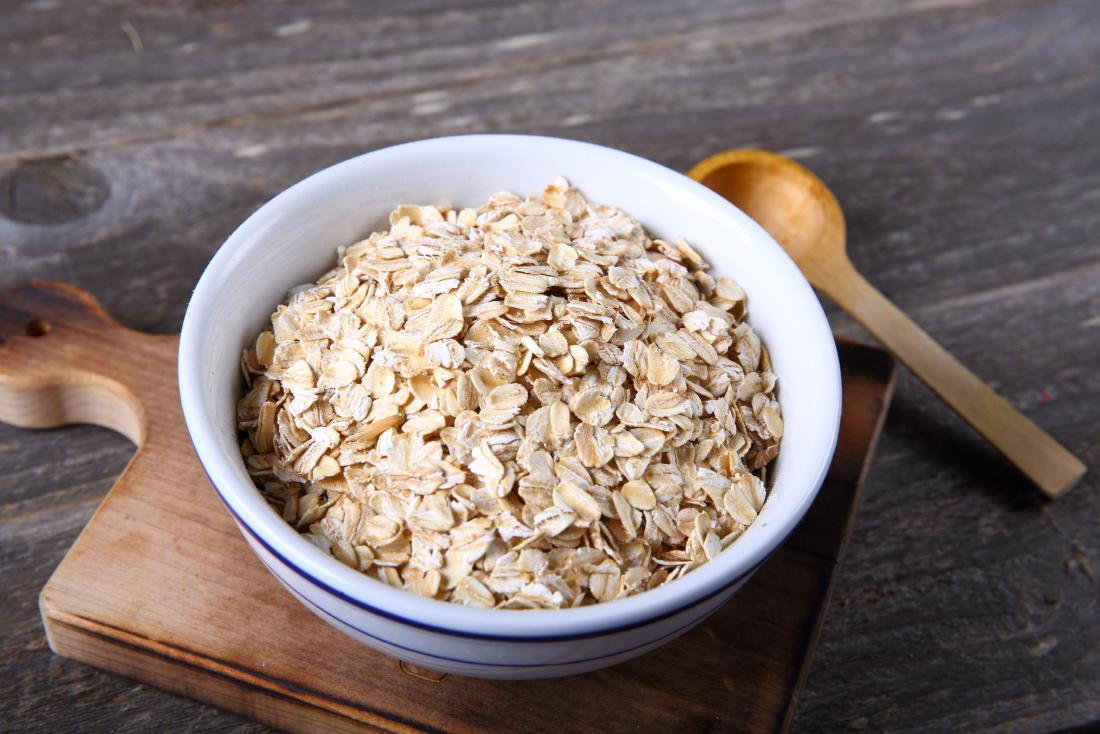 Oats in a bowl which are an iron-rich food