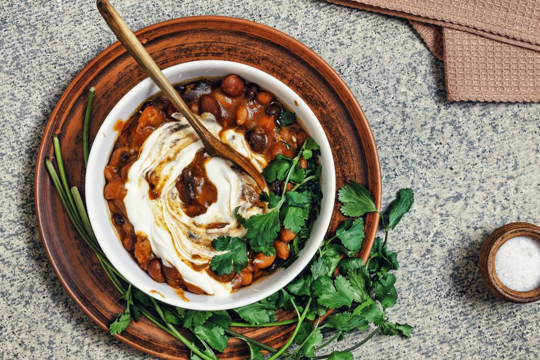 Mexican cuisine, Beans, red beans Chile, coriander, and yoghurt