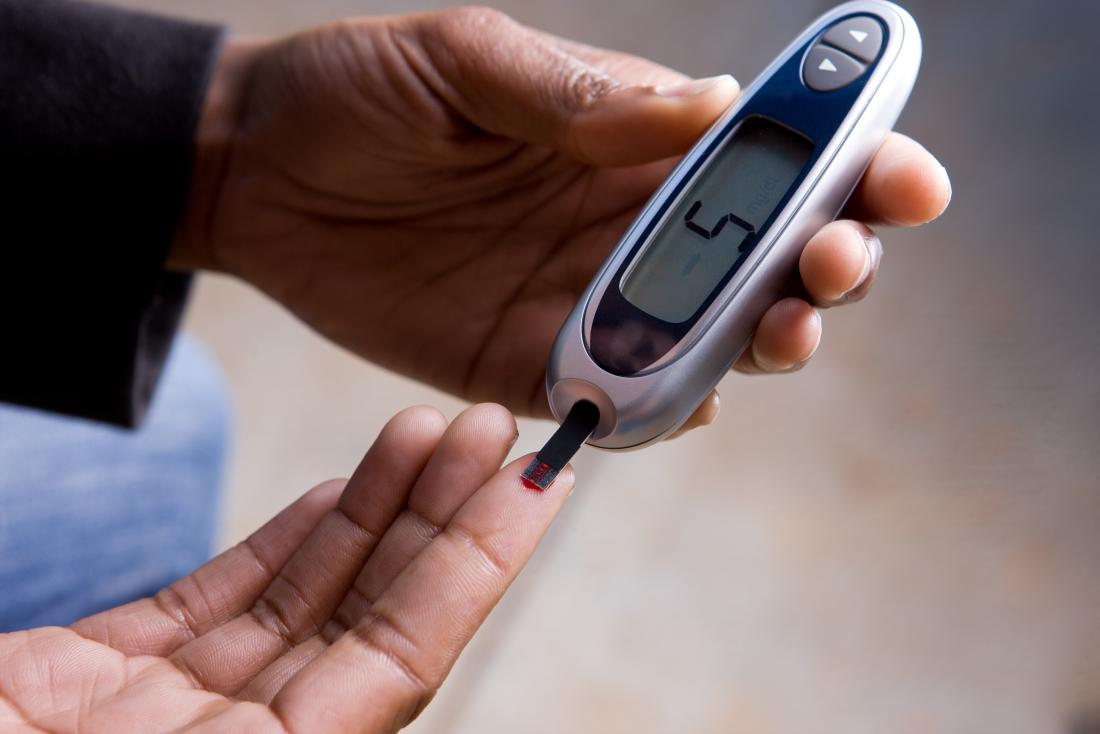 person with diabetes using glucometer to measure blood sugar levels