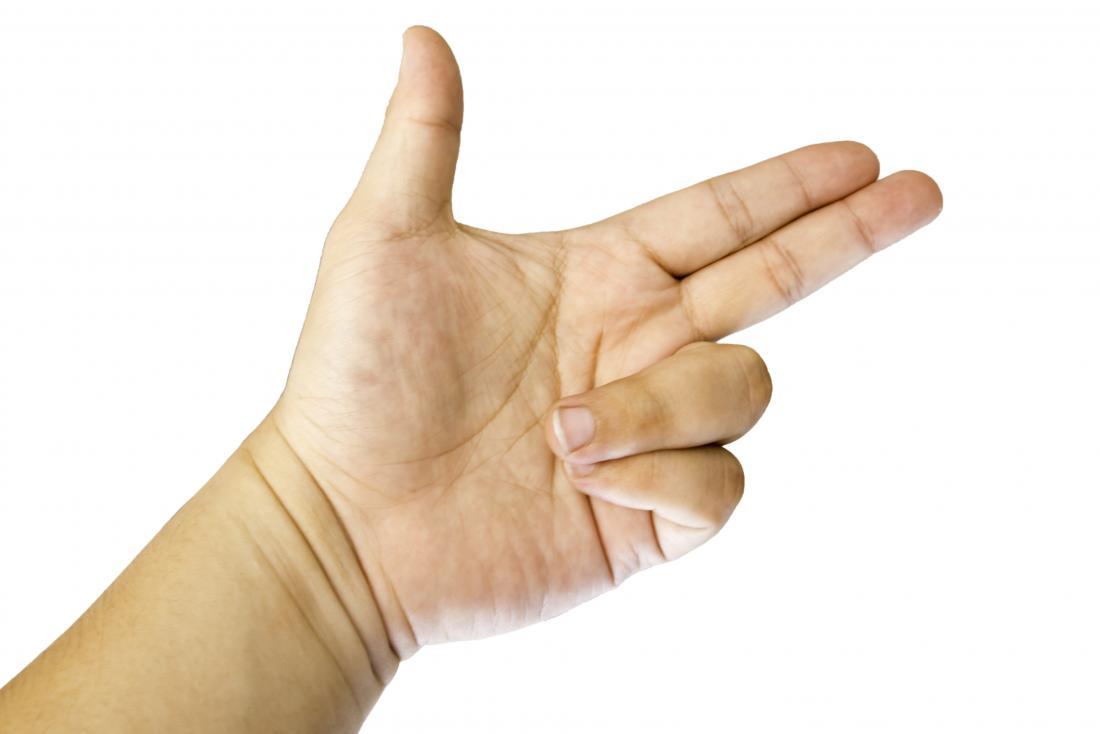 Trigger finger in hand.