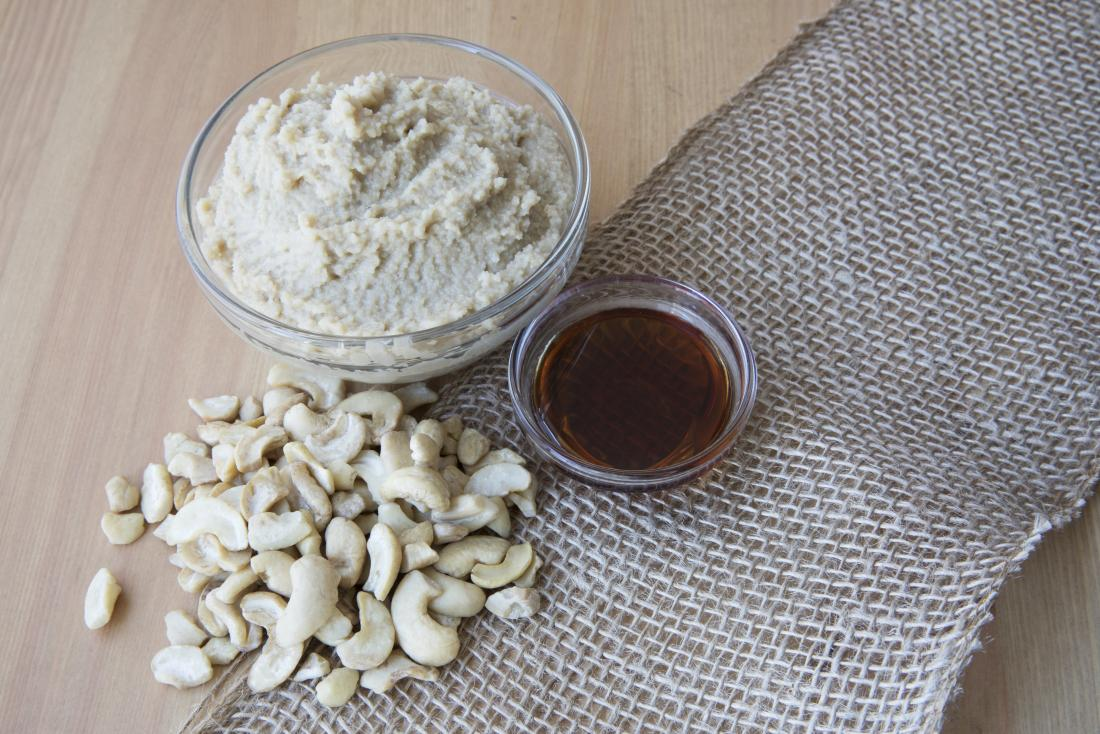 Cashew cream in bowl with ingredients