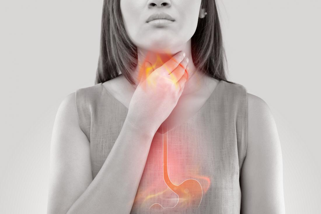 Woman with acid reflux which may be an affect of bulimia on the body