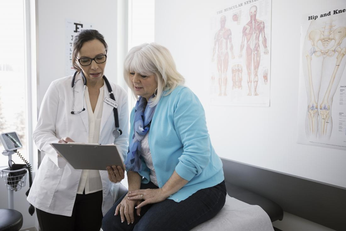 Female doctor showing clipboard to middle aged female patient