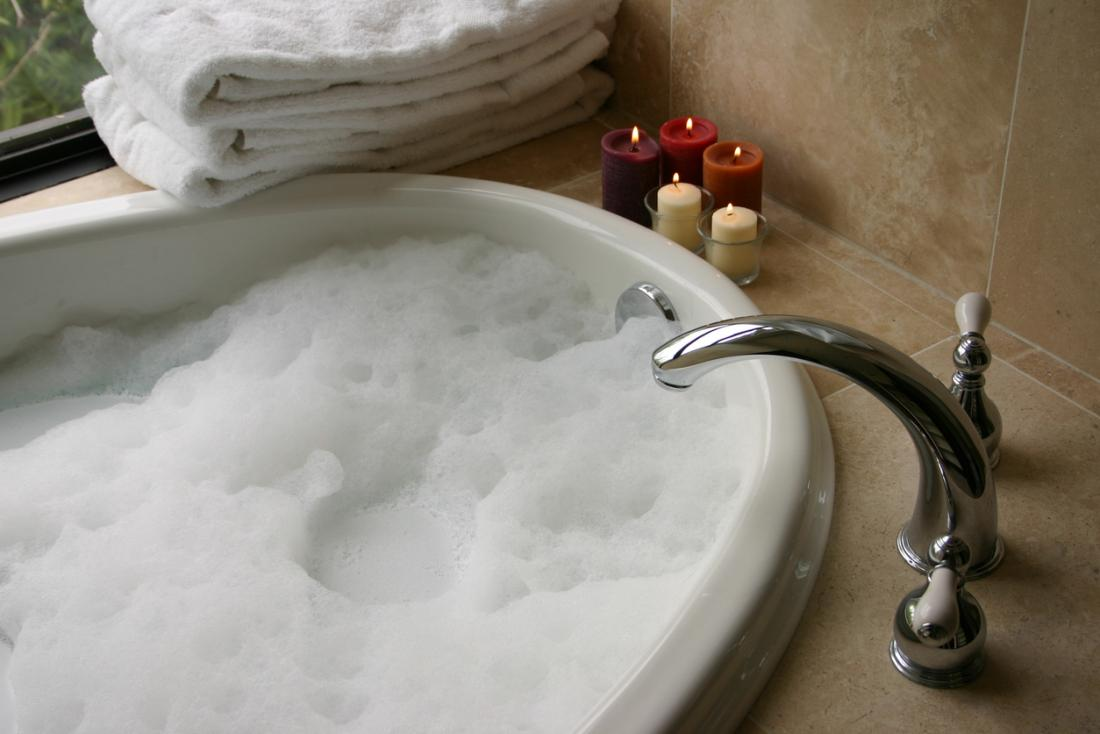 A warm bubble bath.