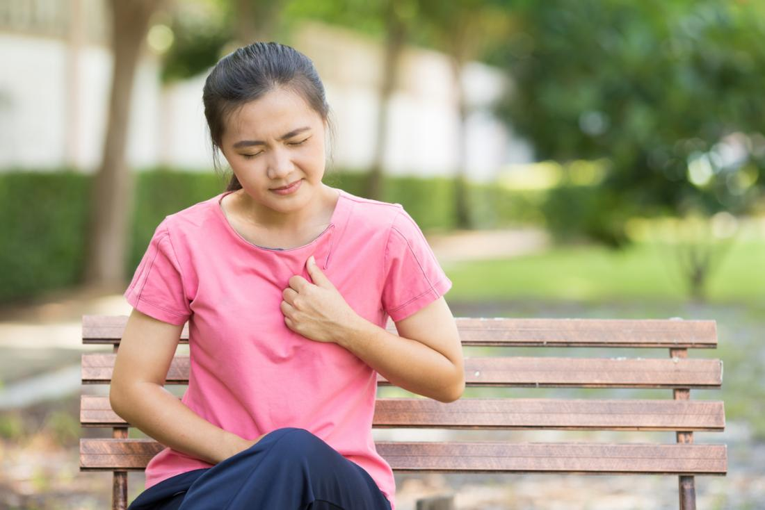 Woman sitting on bench in park, experiencing trouble breathing and chest pain.