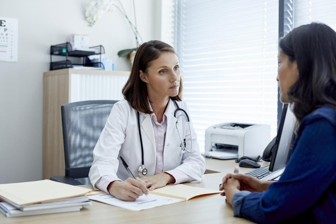 Female doctor and patient discussing treatment and taking medical history.