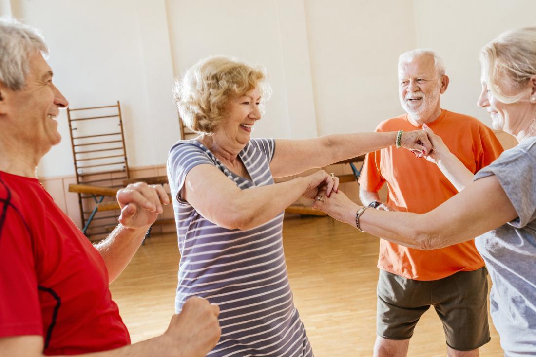 seniors practising dancing