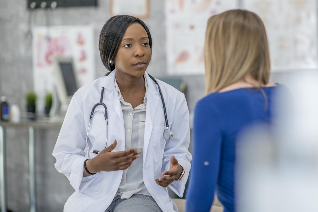 Doctor explaining something to patient.