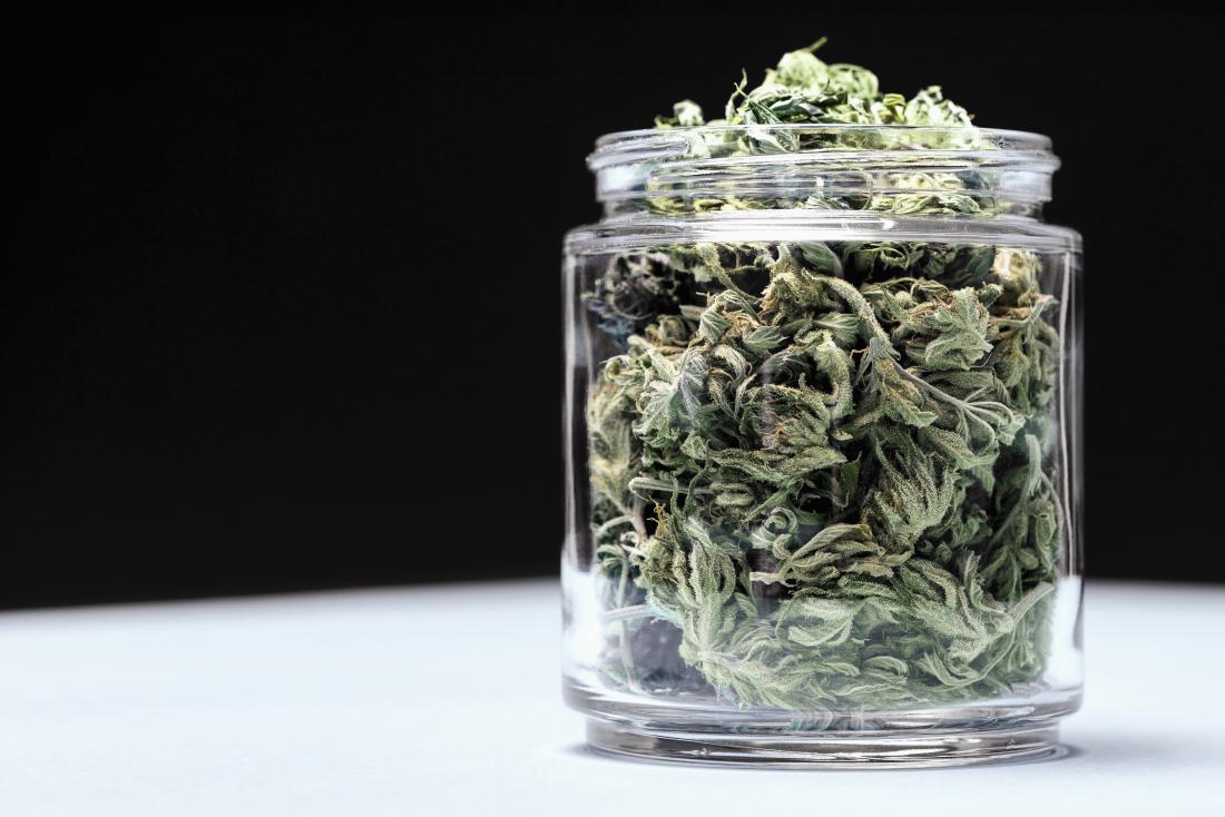 Marijuana buds in glass jar.