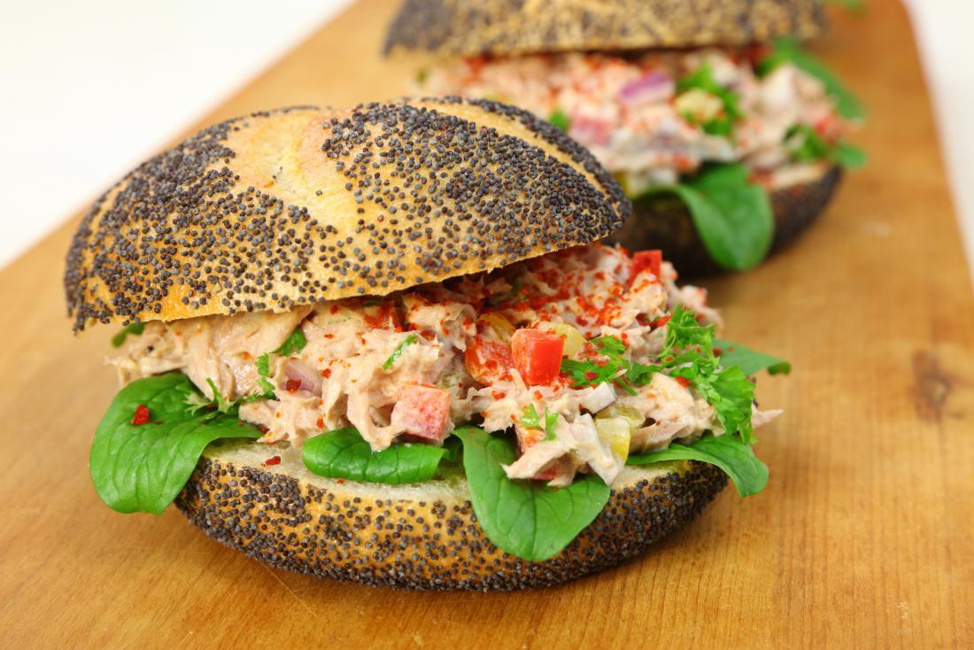poppy seed and tuna salad bagel