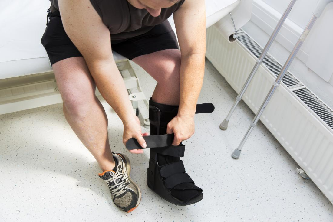 Person putting on surgical boot