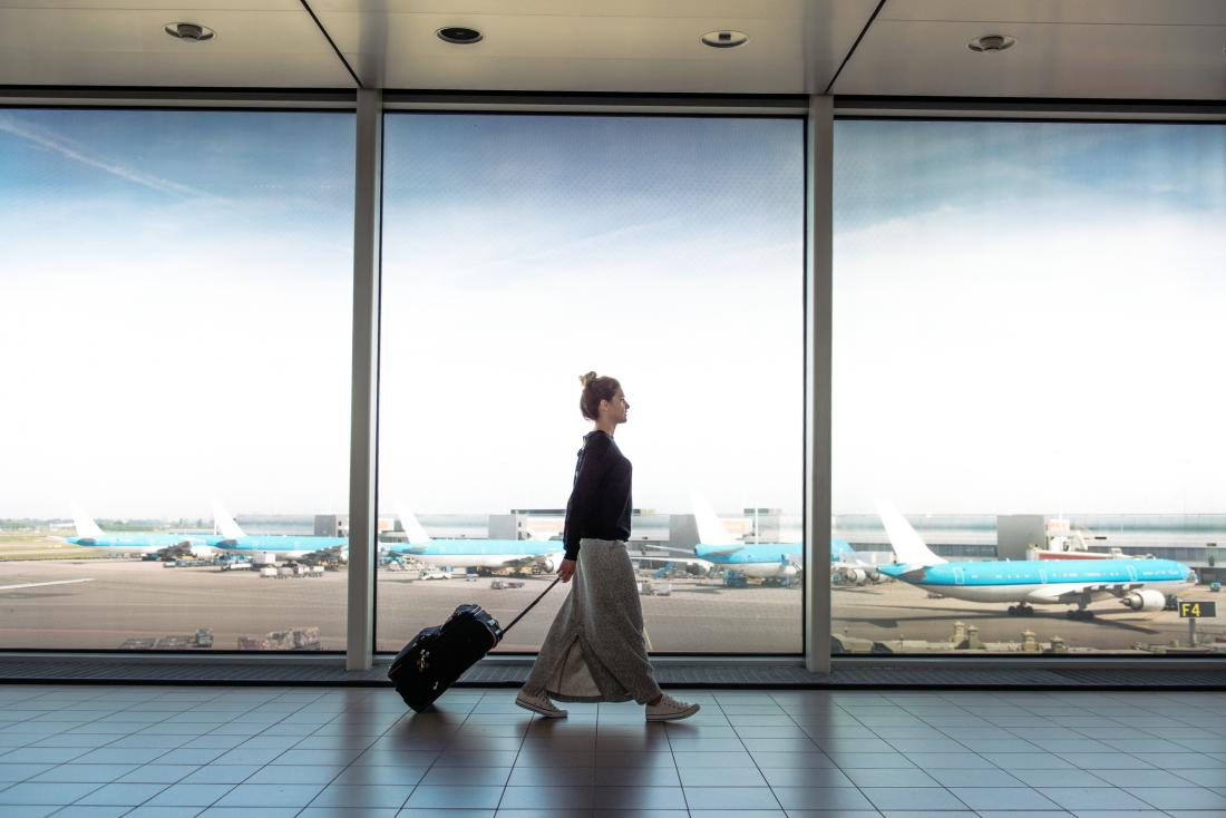 woman traveling in airport