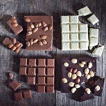 A variety chocolate bars.