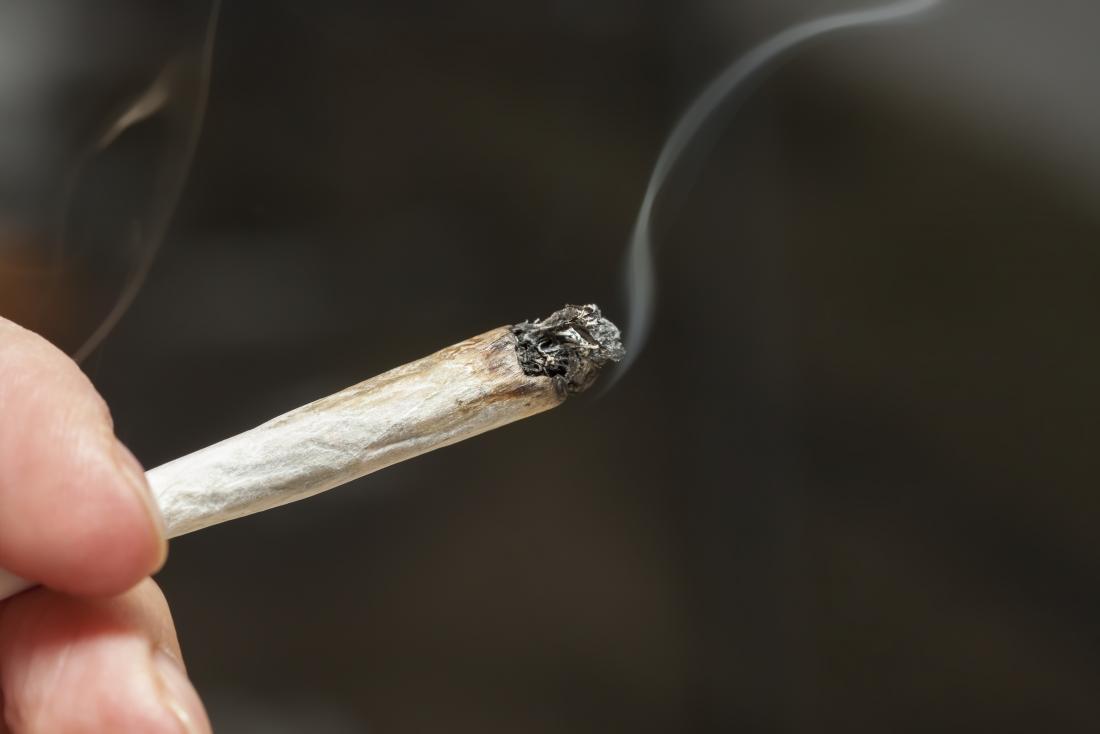 hand holding marijuana cigarette