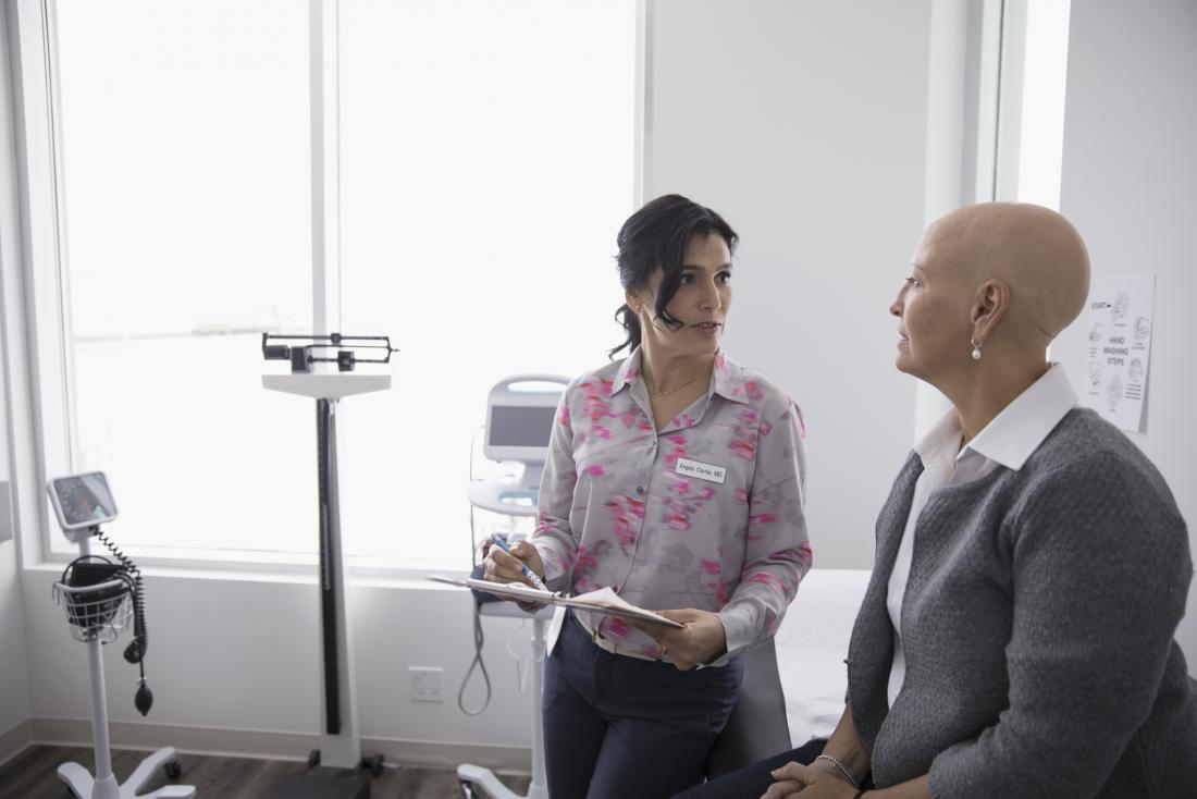 cancer patient speaking to doctor