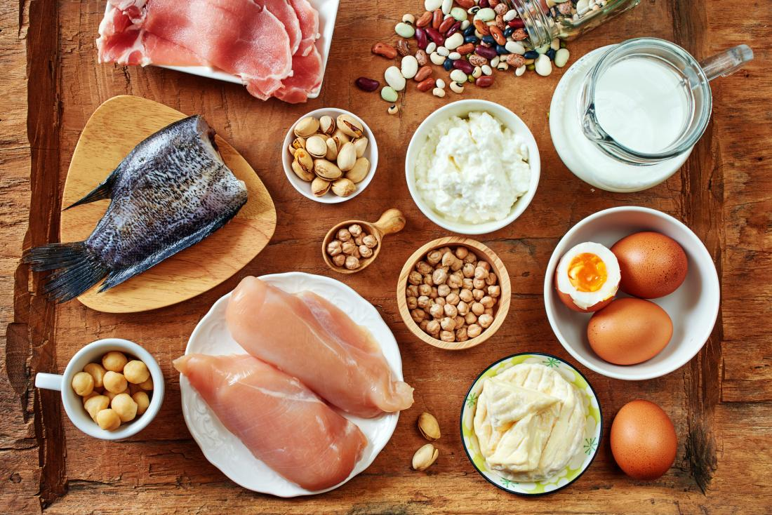 various foods high in protein