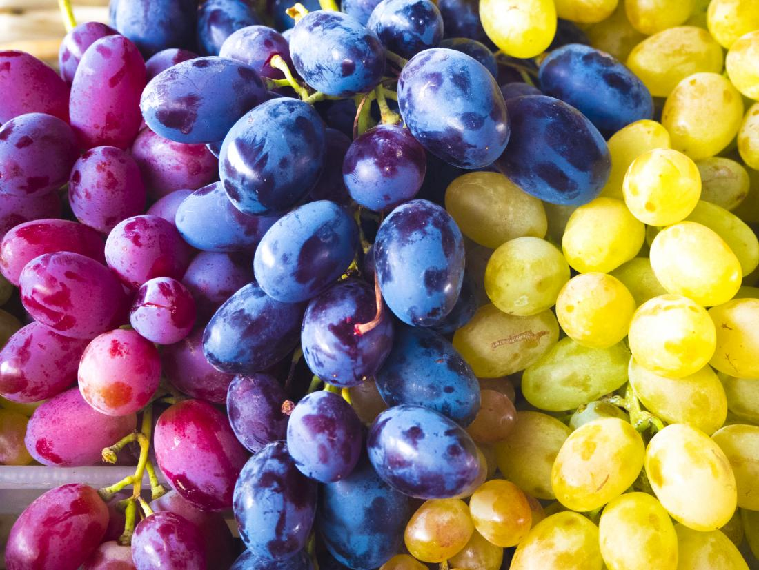 Close up of grapes which contain Quercetin